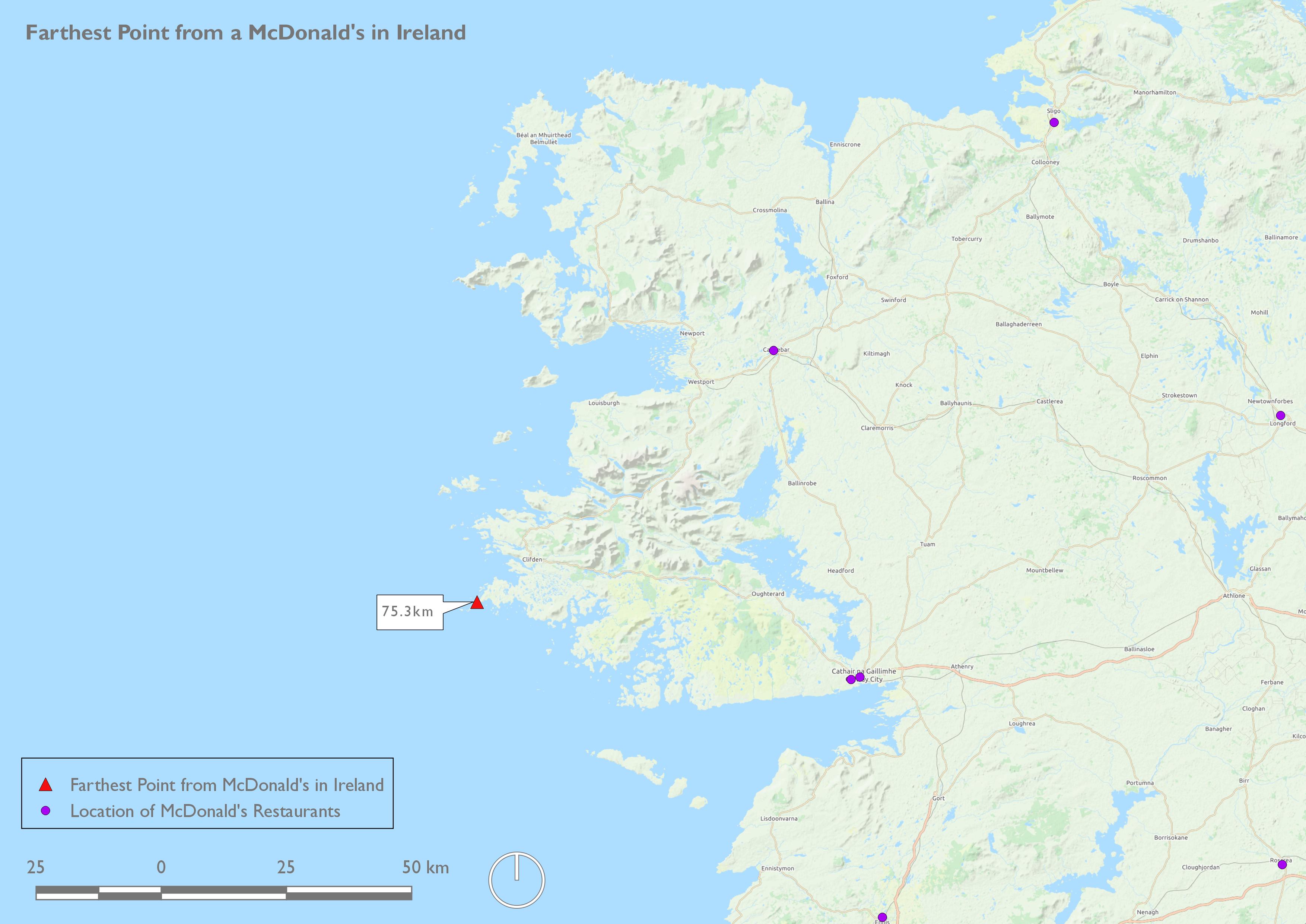 Farthest from McDonald's-Ireland
