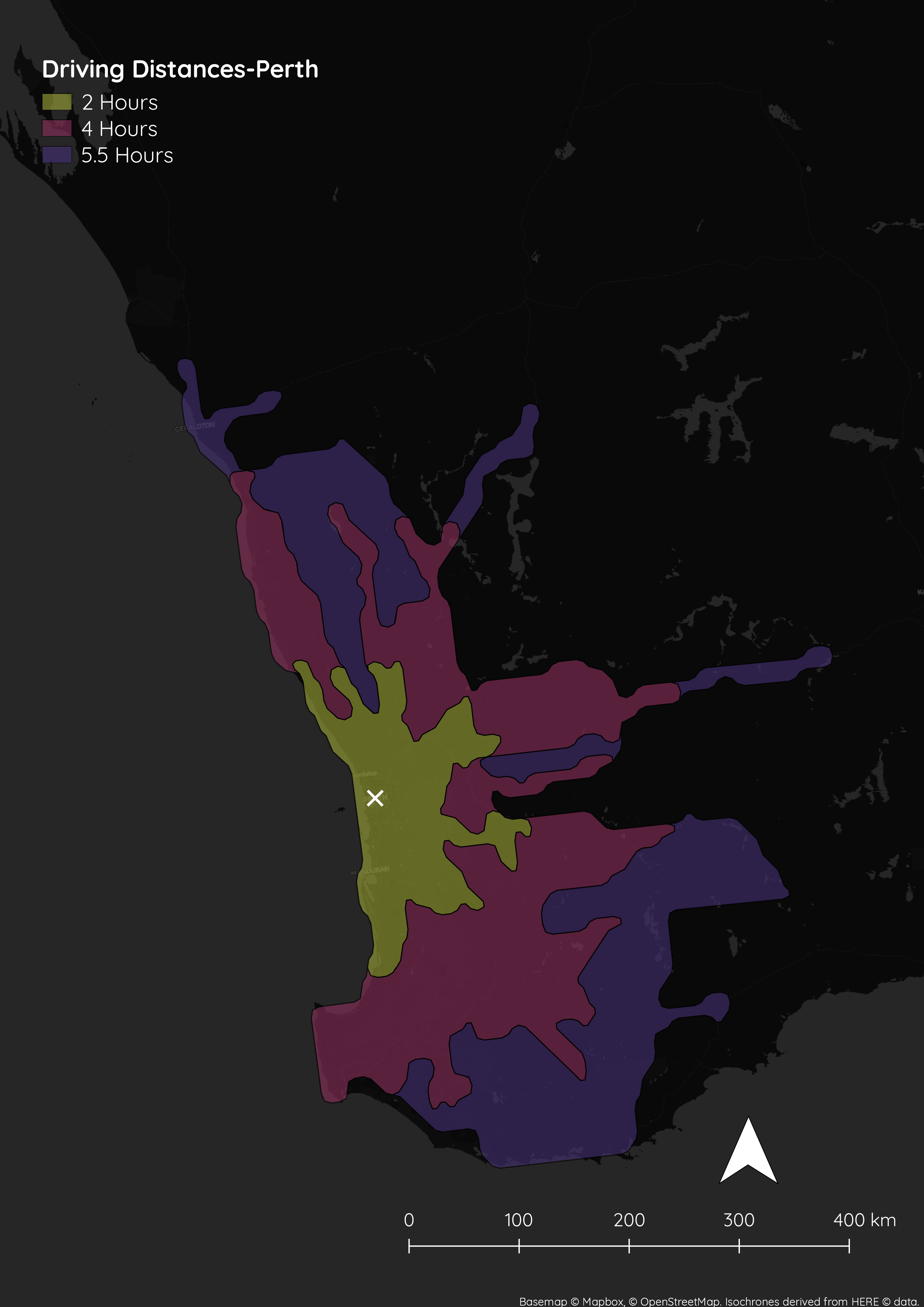 Perth-Isochrone Map