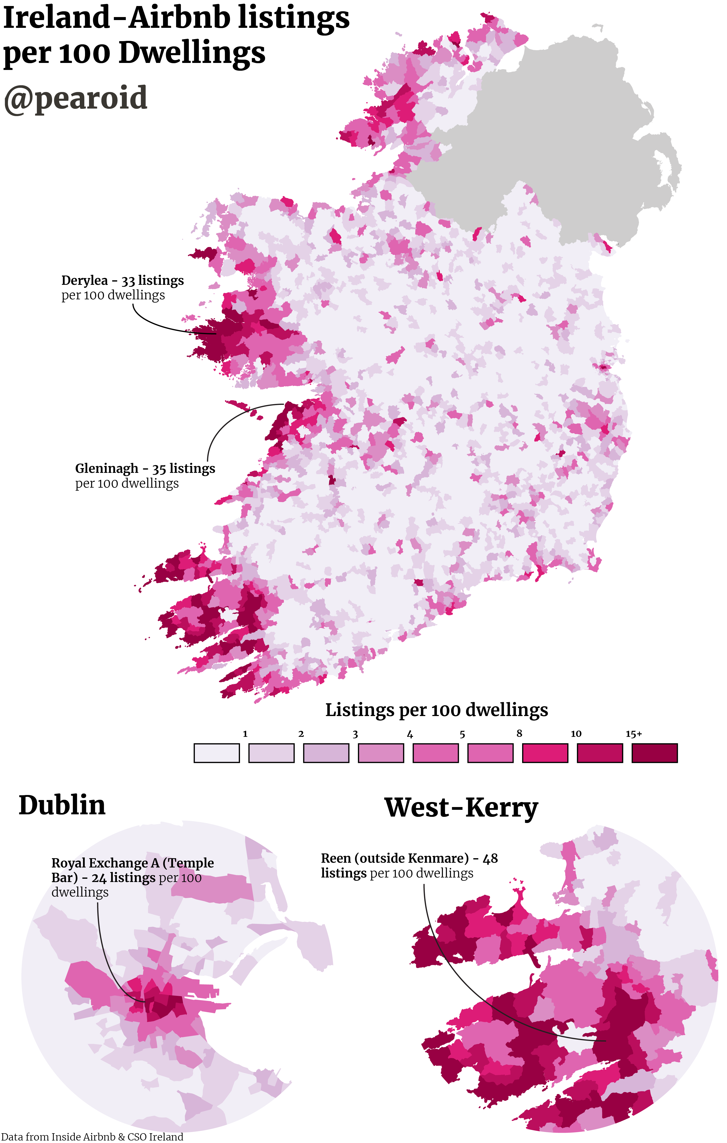 Airbnbs per 100 Dwellings in Ireland