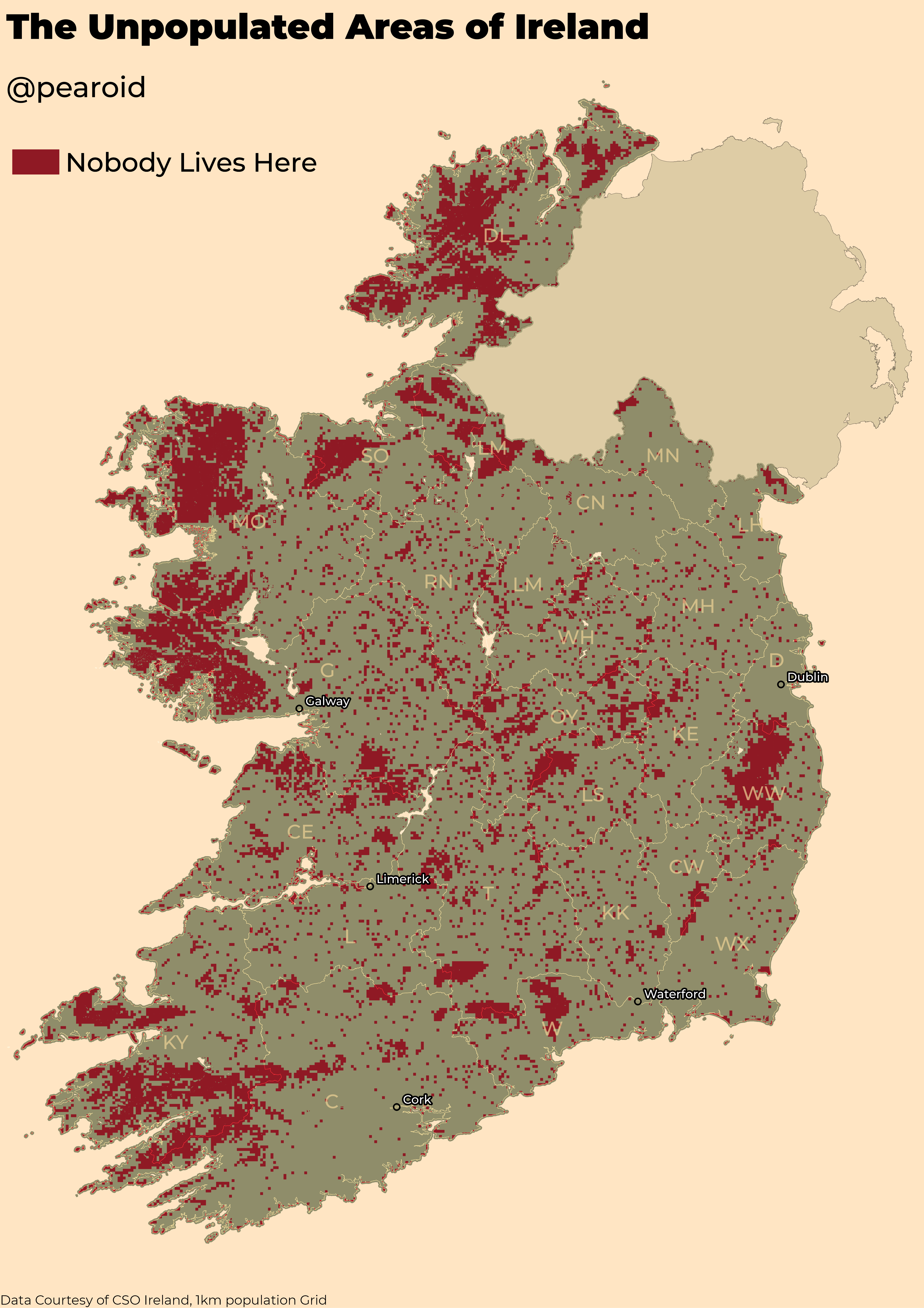 The Unpopulated Areas of Ireland