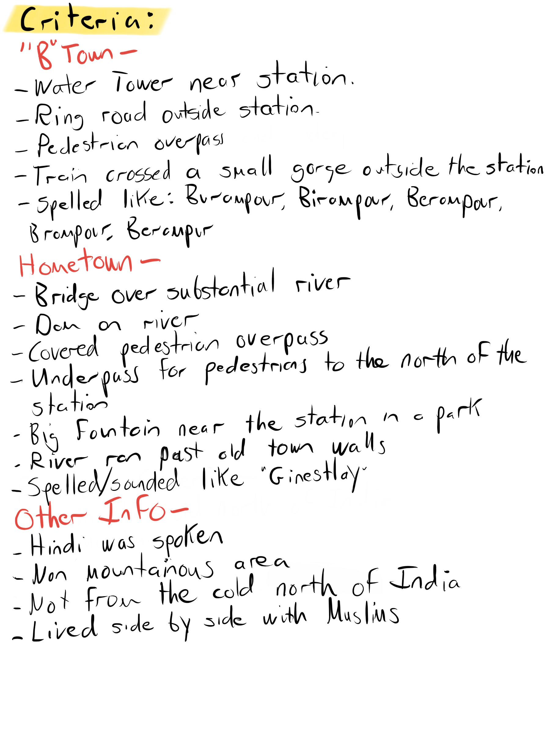Initial Search Criteria